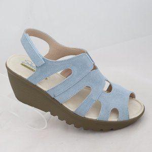 Skechers Women Sz 8 Light Blue Wedge Sandal